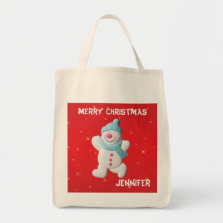 Happy snowman custom girls name christmas tote bag