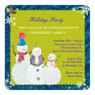 Happy Snowman Cute Holiday Dinner Party 13 Cm X 13 Cm Square Invitation Card