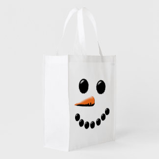 Happy Snowman Face Winter Holiday Reusable Grocery Bag