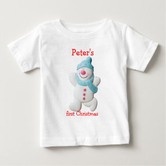 Happy snowman first christmas custom boys name t shirts