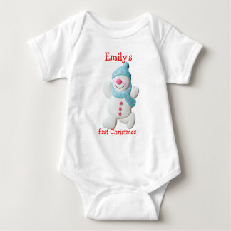Happy snowman first christmas custom girls name baby bodysuit