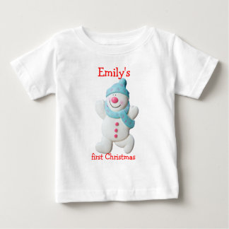 Happy snowman first christmas custom girls name shirt