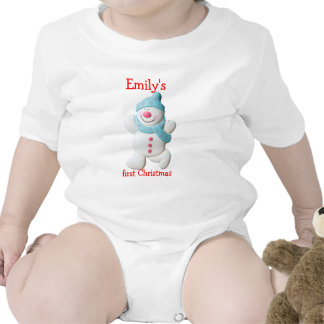 Happy snowman first christmas custom girls name baby bodysuit