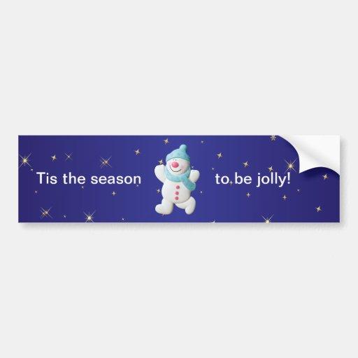 Happy snowman fun christmas bumper sticker