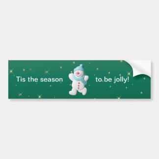Happy snowman fun christmas bumper sticker car bumper sticker