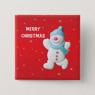 Happy Snowman fun custom christmas button, pin, 15 Cm Square Badge
