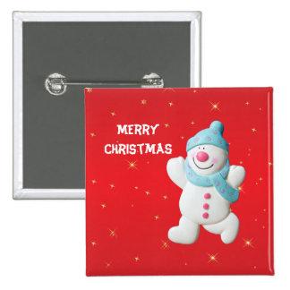 Happy Snowman fun custom christmas button, pin, 15 Cm Square Badge