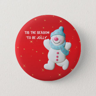 Happy Snowman fun custom christmas button, pin, 6 Cm Round Badge