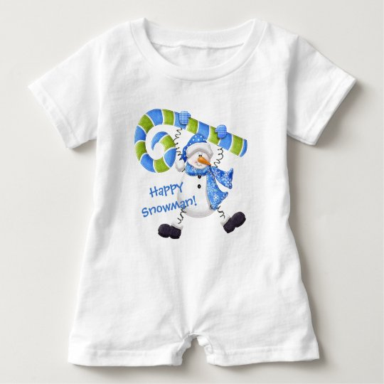 Happy Snowman Green and Blue Baby Romper Baby Bodysuit