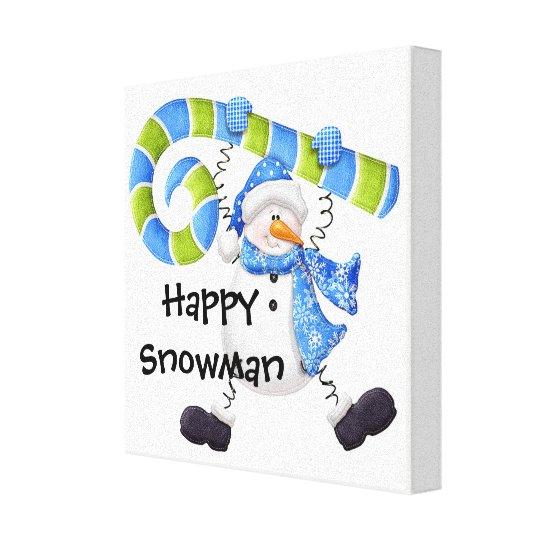Happy Snowman Green and Blue Nursery Wall Art