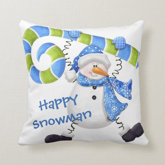 Happy Snowman Green and Blue Throw Pillow