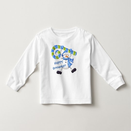 Happy Snowman Green and Blue Toddler Shirt