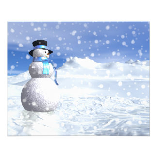 Happy snowman in winter flyer