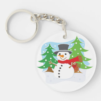 Happy Snowman Key Ring