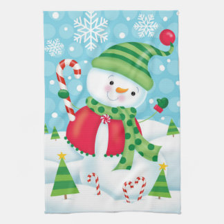 Happy Snowman Kitchen Towel