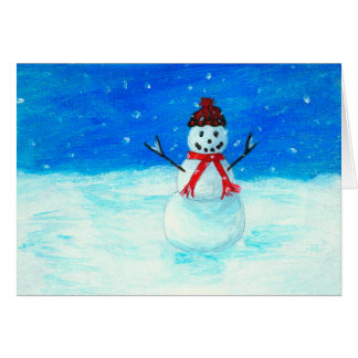 Happy Snowman Landscape Art Snow Snowing Card
