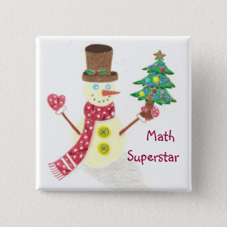 Happy snowman, Math Superstar 15 Cm Square Badge