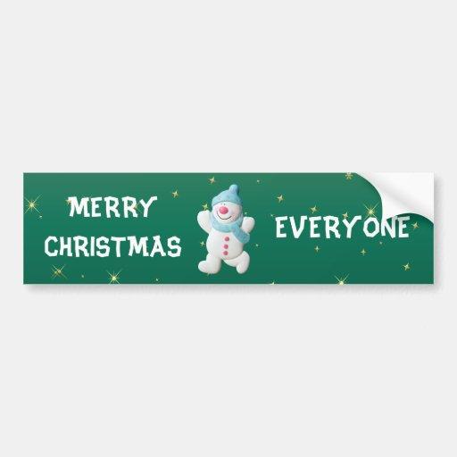 Happy snowman merry christmas everyone custom bumper sticker