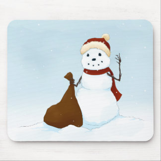 Happy snowman mouse pad