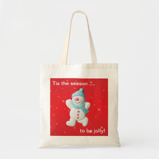 Happy snowman novelty christmas tote bag