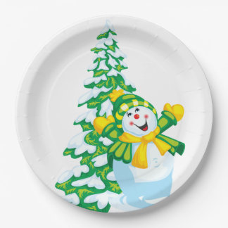 Happy Snowman Paper Plate