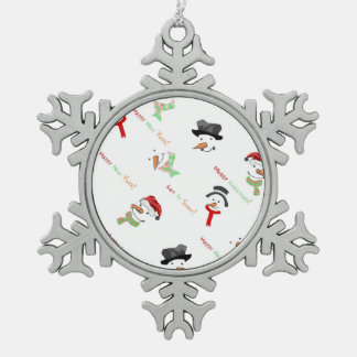 Happy Snowman Pewter Snowflake Decoration