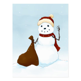 Happy snowman postcard