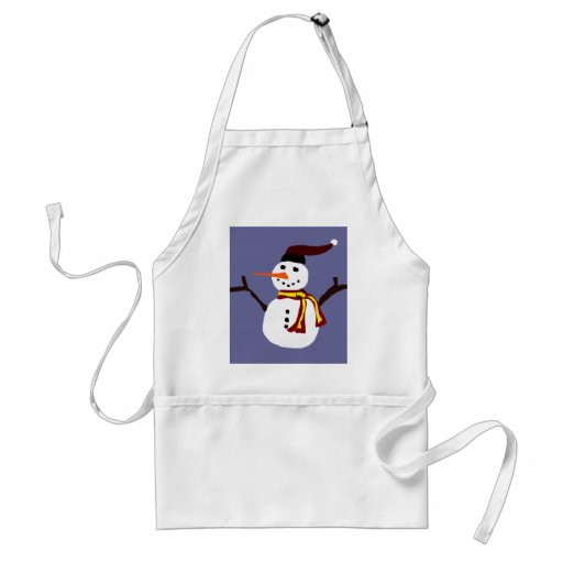Happy Snowman Primitive Art Design Aprons