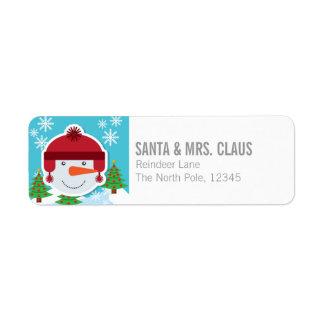 Happy Snowman Return Address Label