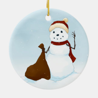 Happy snowman round ceramic decoration