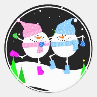 Happy Snowman Round Sticker