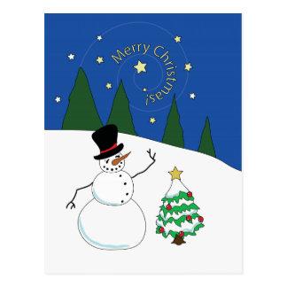 Happy Snowman Says Merry Christmas Postcard