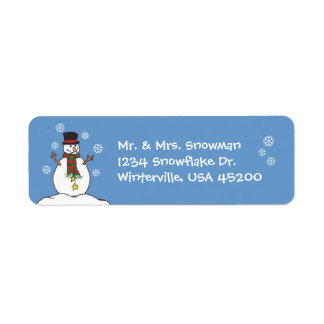 Happy Snowman & Snowflakes - Address Label