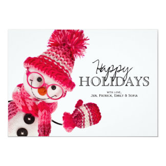 Happy Snowman Spectacled In Knitted Pink Hat 13 Cm X 18 Cm Invitation Card