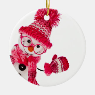 Happy Snowman Spectacled In Knitted Pink Hat Christmas Ornament