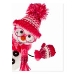 Happy Snowman Spectacled In Knitted Pink Hat Postcard