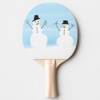 Happy Snowmen Ping Pong Paddle