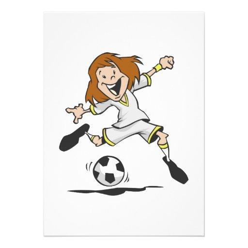 happy soccer girl kid graphic personalized invitation