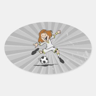 happy soccer girl kid graphic oval sticker