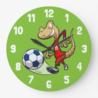 Happy Soccer Star Gecko Kicking Football Cartoon Large Clock