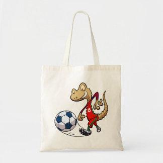 Happy Soccer Star Gecko Kicking Football Cartoon Tote Bag