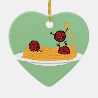 Happy Spaghetti and Meatballs Christmas Ornament