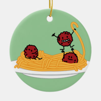 Happy Spaghetti and Meatballs Christmas Ornament