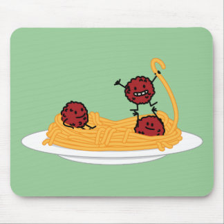 Happy Spaghetti and Meatballs Mouse Pad