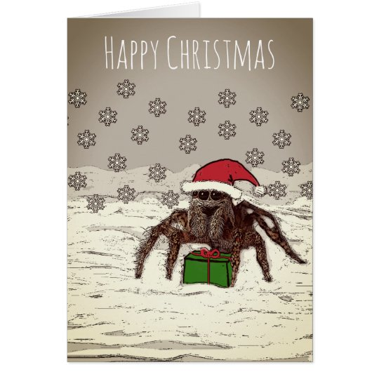 Happy Spider Christmas Card With Personalised Name