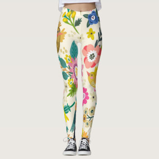 Happy Spring Bird and Flowers leggings