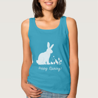 Happy Spring: Bunny, Chick and Tulips Tank Top