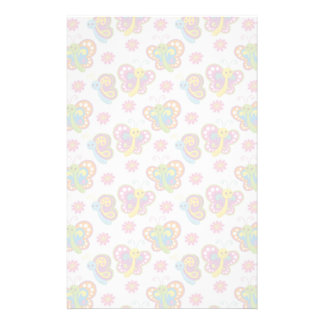 happy spring butterflies pattern stationery