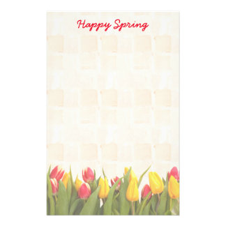 Happy Spring Colorful Tulips Stationery