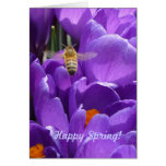 """Happy Spring! """"Crocuses and Honey Bee"""" Greeting Cards"""